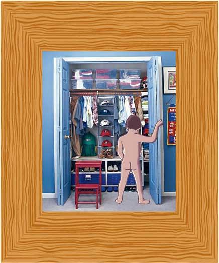 Boy peeing in closet
