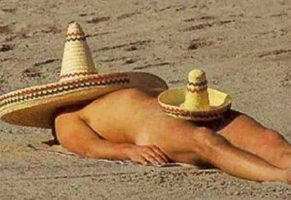 Naked man wearing a sombrero