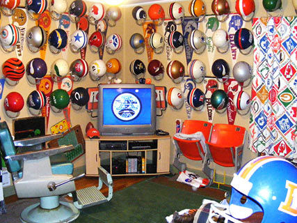 "An incredibly cluttered ""man cave"""